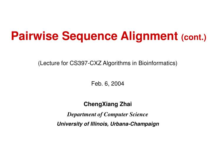 pairwise sequence alignment cont n.