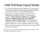 child well being topical module