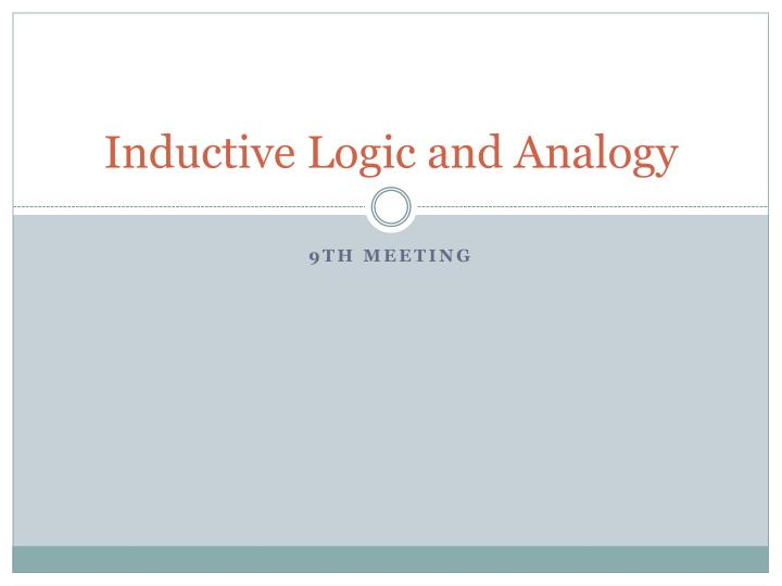 inductive logic and analogy n.