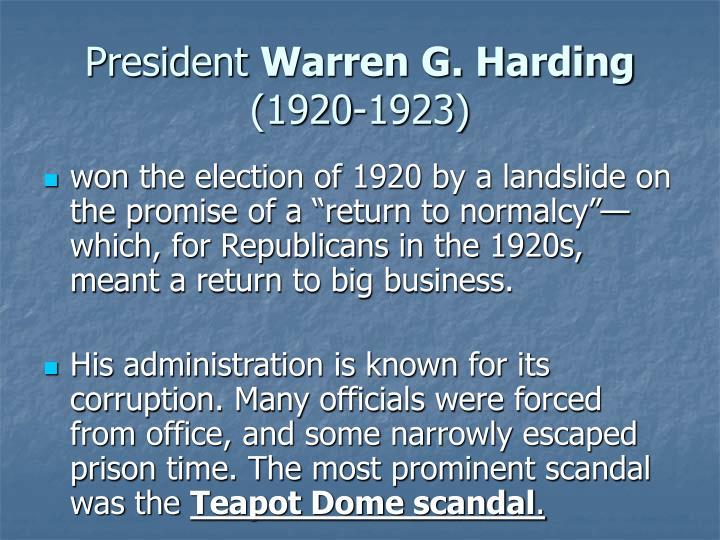 President warren g harding 1920 1923