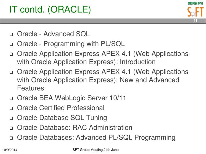 IT contd. (ORACLE)