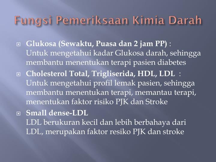 Fungsi Pemeriksaan Kimia Darah