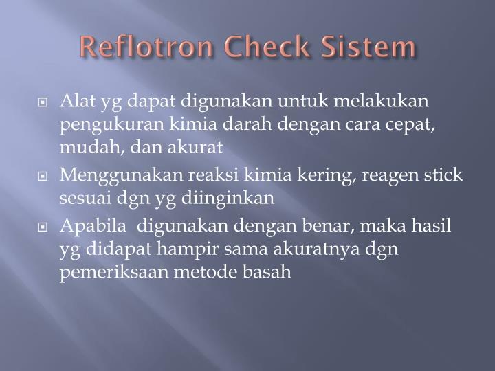 Reflotron check sistem