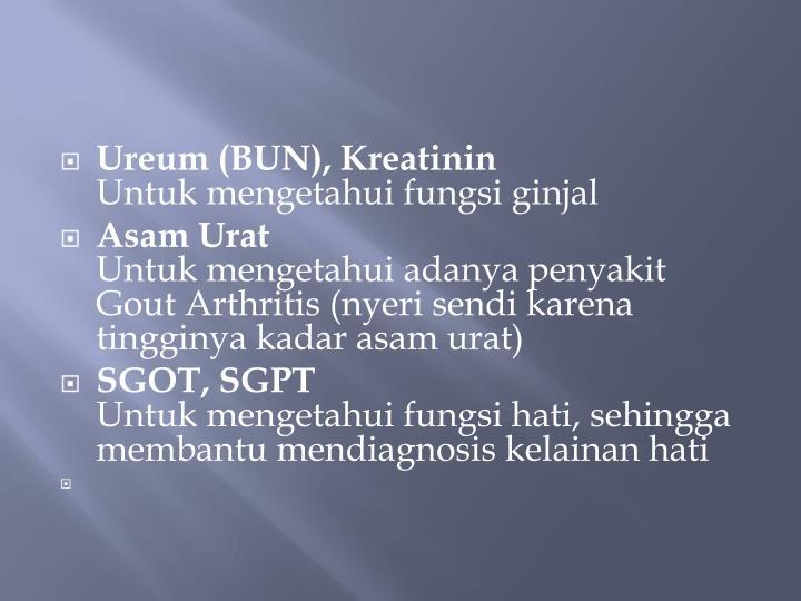 Ureum (BUN), Kreatinin
