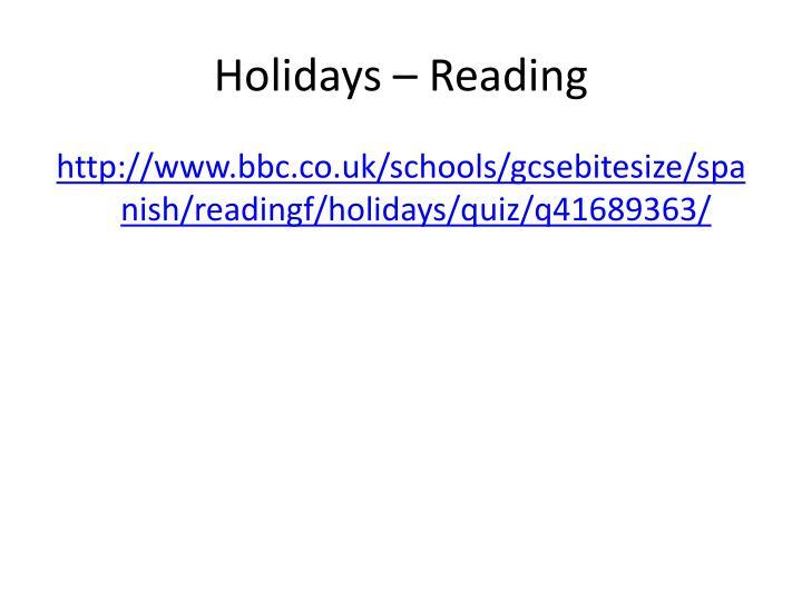Holidays – Reading