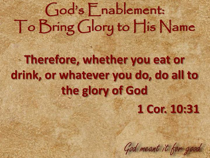 God's Enablement: