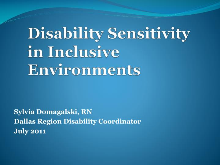 disability sensitivity in inclusive environments n.