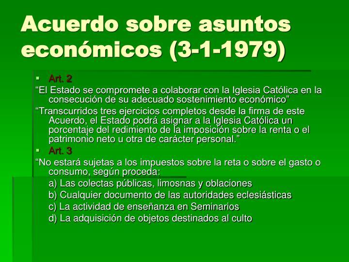 Acuerdo sobre asuntos económicos (3-1-1979)