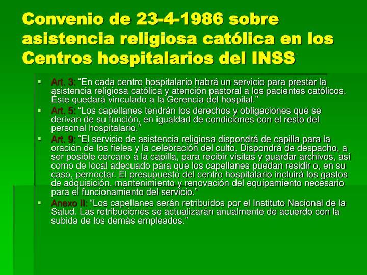 Convenio de 23-4-1986 sobre asistencia religiosa católica en los Centros hospitalarios del INSS