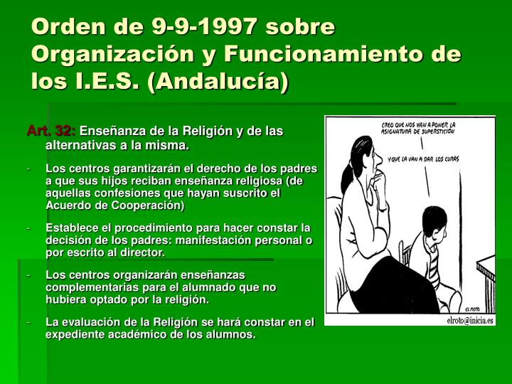 Orden de 9-9-1997 sobre Organización y Funcionamiento de los I.E.S. (Andalucía)