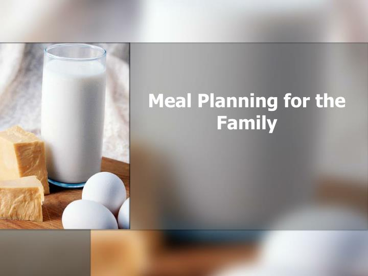 meal planning for the family n.