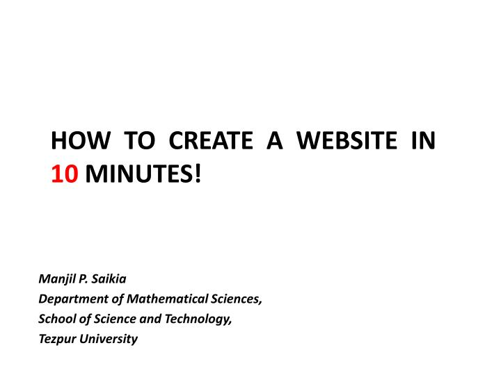 how to create a website in 10 minutes n.