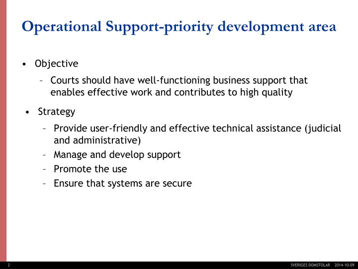 Operational support priority development area