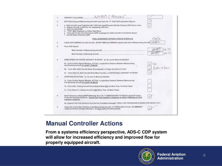 Manual Controller Actions