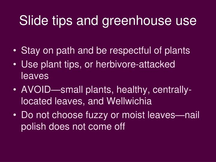 Slide tips and greenhouse use