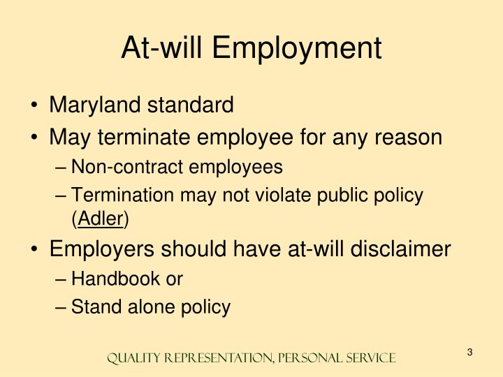 At will employment