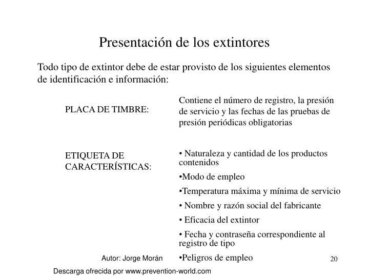 Presentación de los extintores