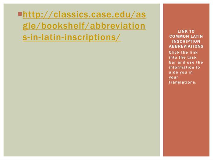 Link to common latin insc ription abbreviations
