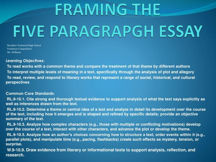 framing the five paragrapgh essay n.