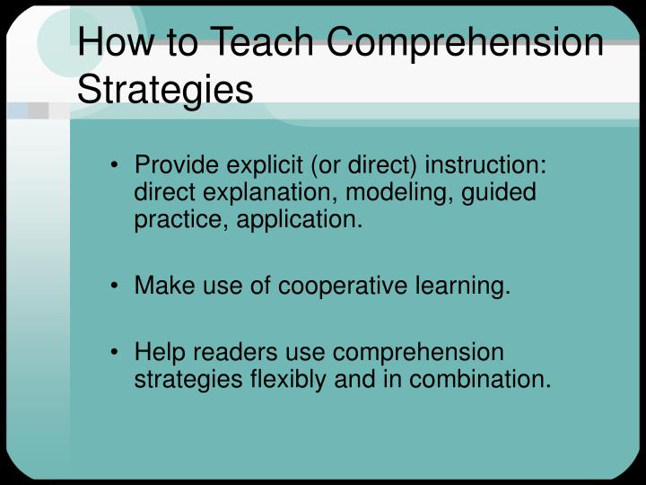 How to Teach Comprehension Strategies