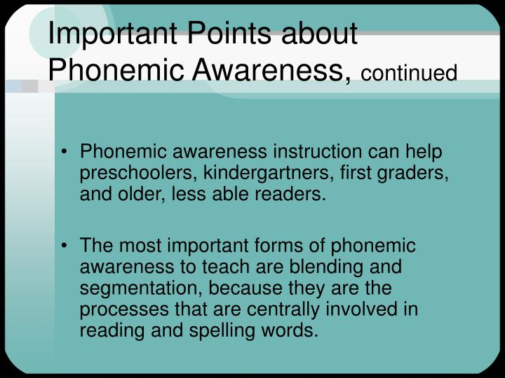 Important Points about Phonemic Awareness,