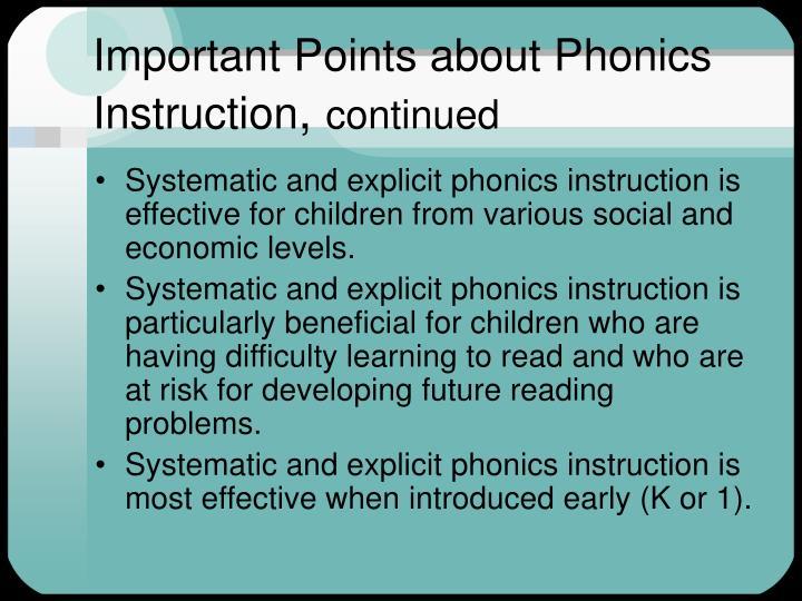 Important Points about Phonics Instruction