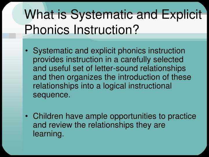 What is Systematic and Explicit Phonics Instruction?