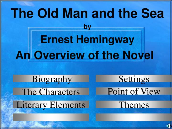 an overview of the old man and the sea by ernest hemingway The old man and the sea is a novel written by ernest hemingway (1899-1961) and published in 1952 it was the last novel hemingway wrote during his lifetime his subsequent novels were published posthumously.