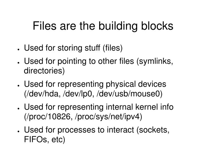 Files are the building blocks