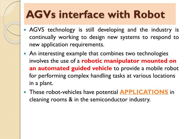 AGVs interface with Robot