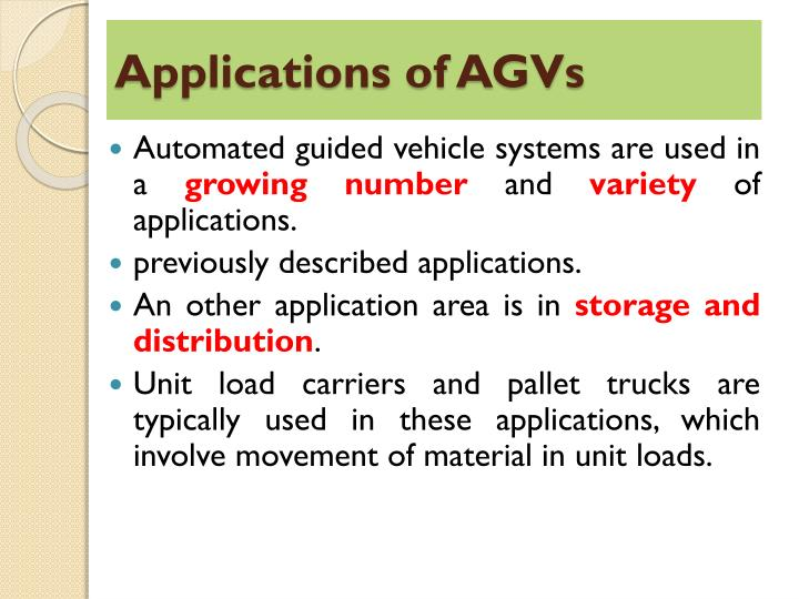 Applications of AGVs