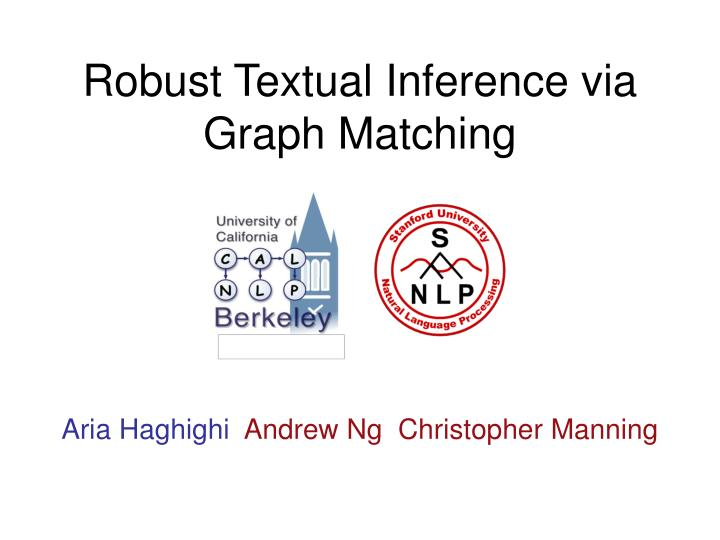 robust textual inference via graph matching n.