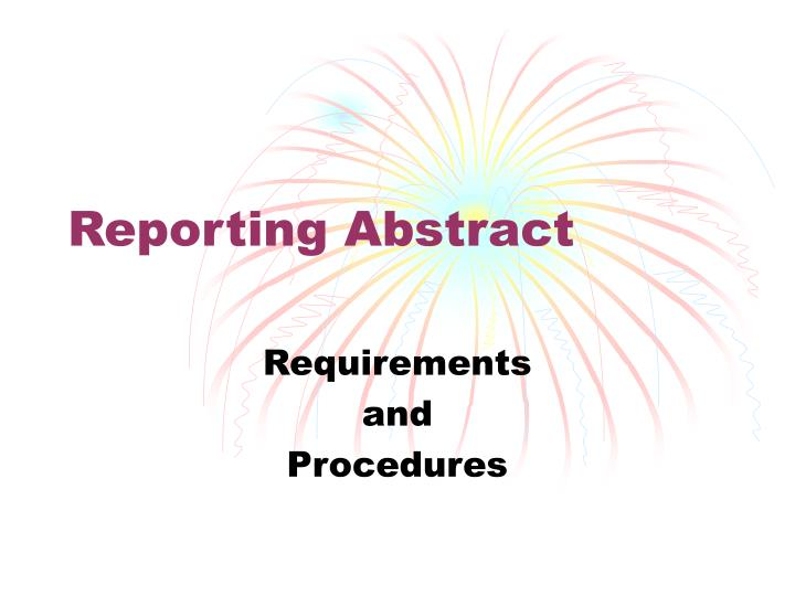 reporting abstract n.