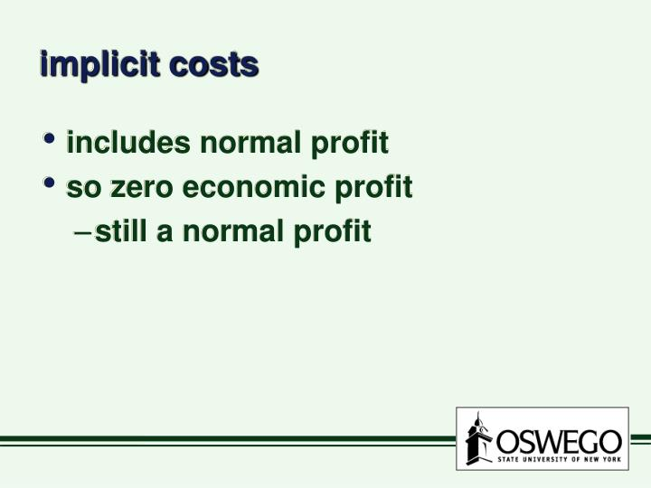 Implicit costs