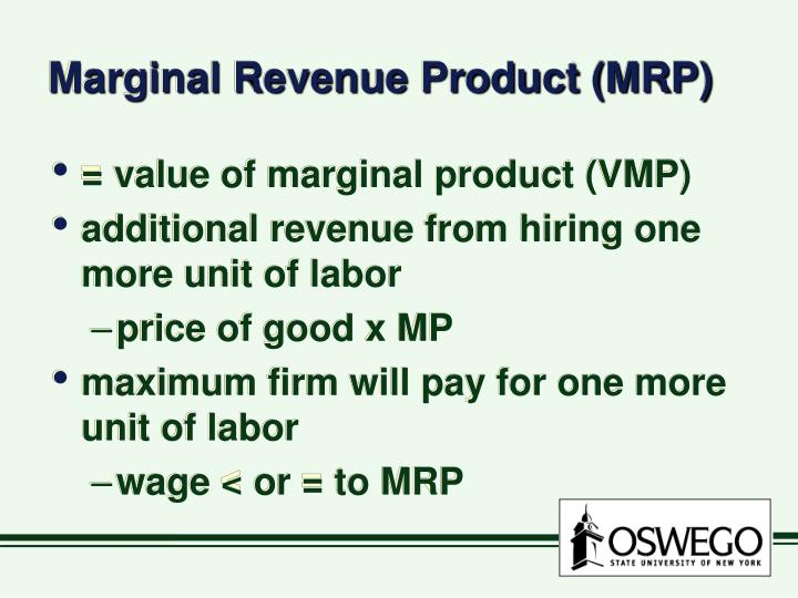 Marginal Revenue Product (MRP)