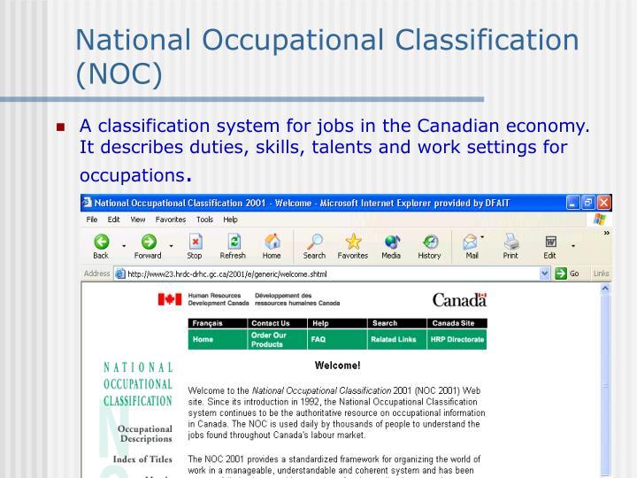 National Occupational Classification (NOC)