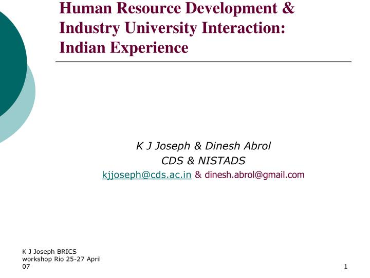 human resource development industry university interaction indian experience n.