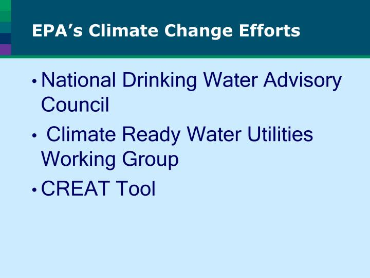 EPA's Climate Change Efforts
