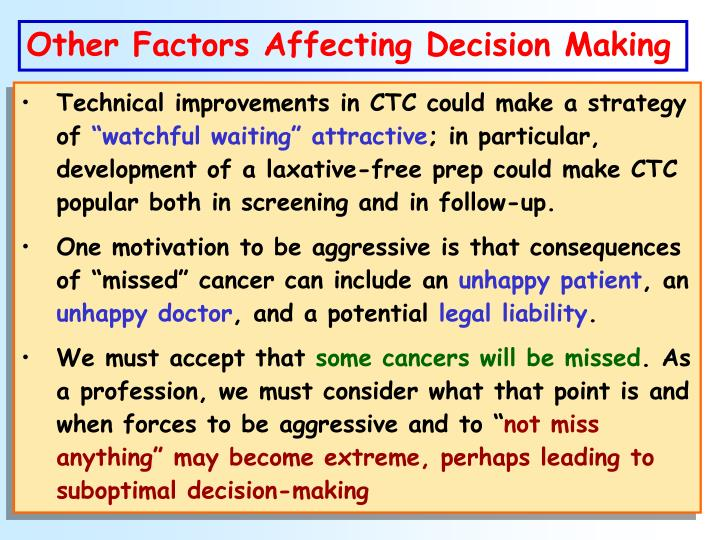 Other Factors Affecting Decision Making