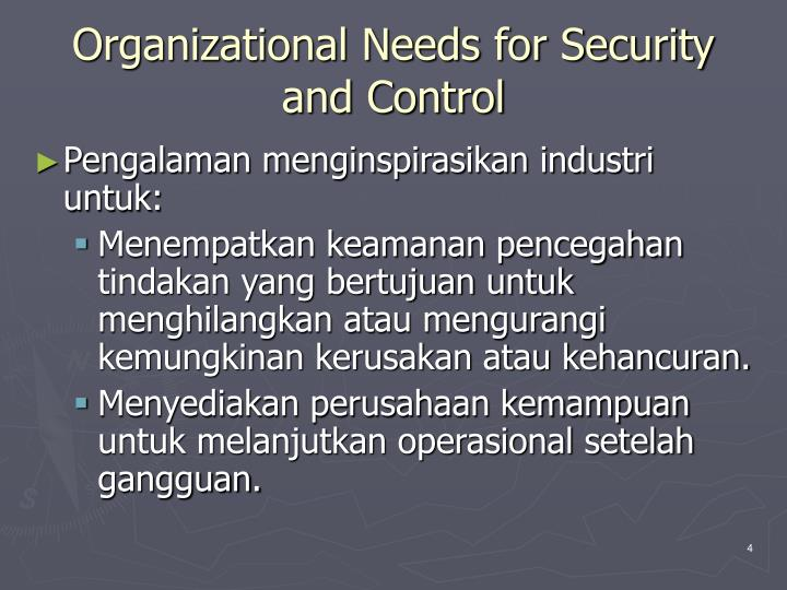 Organizational needs for security and control