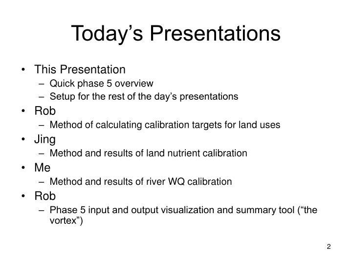Today s presentations