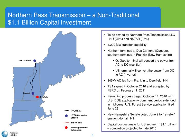 Northern Pass Transmission – a Non-Traditional      $1.1 Billion Capital Investment