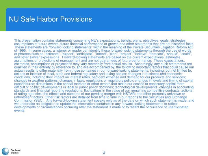 NU Safe Harbor Provisions