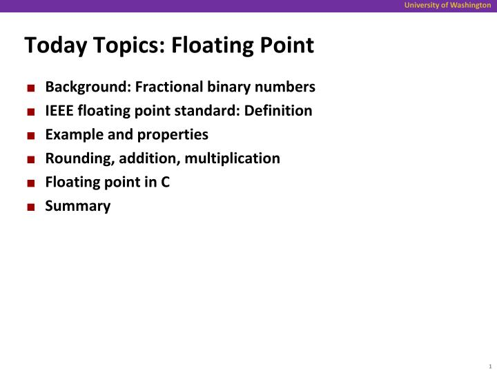 today topics floating point n.