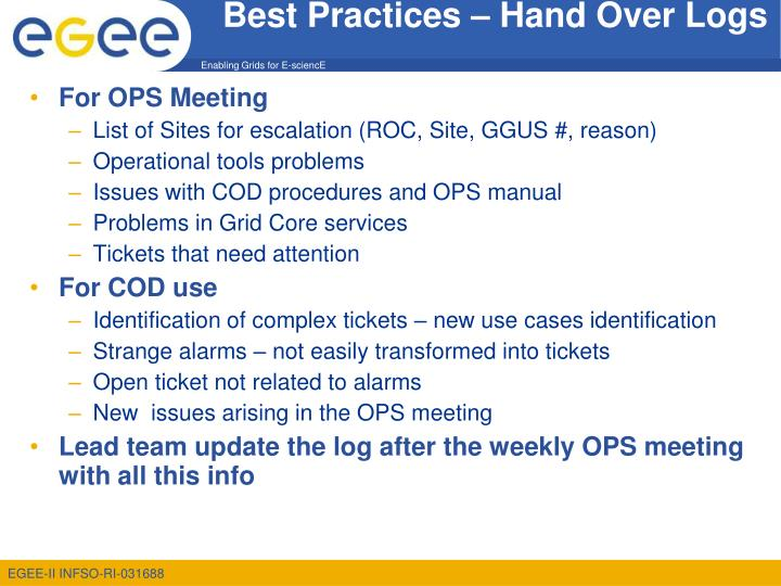 Best practices hand over logs
