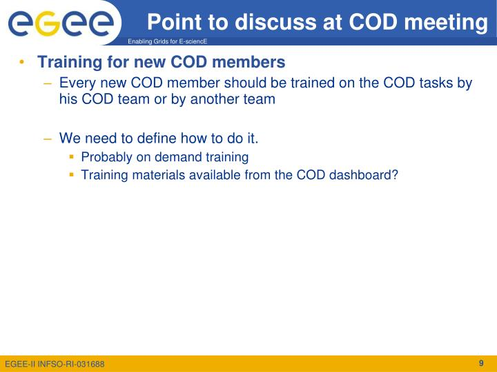 Point to discuss at COD meeting