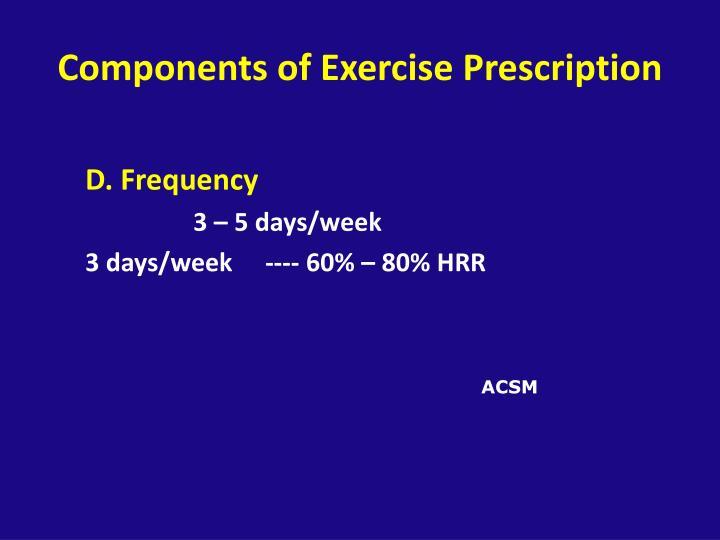 Components of Exercise Prescription