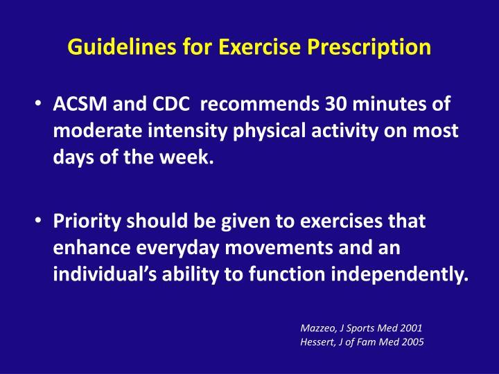 Guidelines for Exercise Prescription