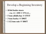 develop a beginning inventory