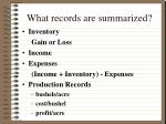 what records are summarized